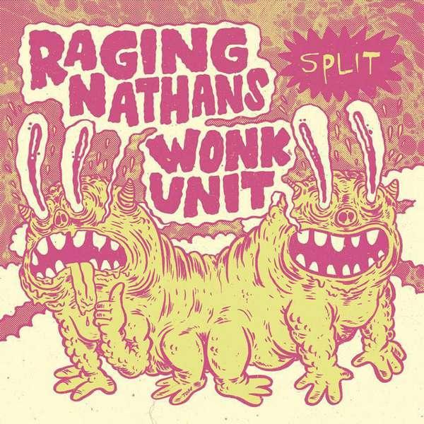 Various Artists – Wonk Unit/Raging Nathans - split cover artwork