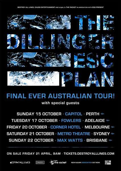 Dillinger Escape Plan plan final Down Under tour