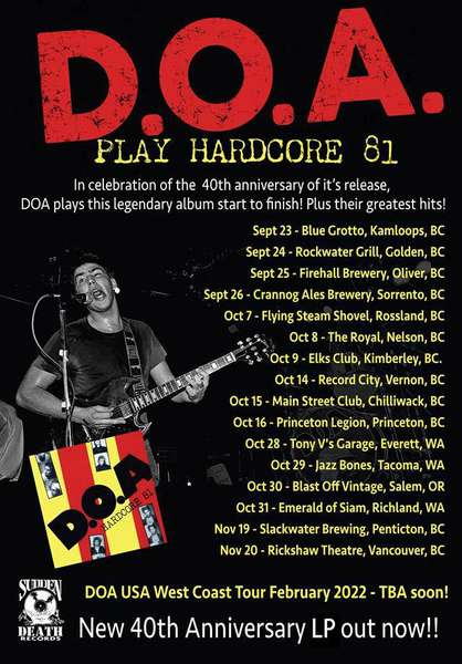 D.O.A.'s Hardcore 81 turns 40 (gets special live treatment too)